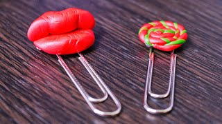 DIY Polymer Clay Lips and Lollipop Paper Clips
