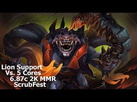DotA 2 - Lion Support Vs. 5 Cores - 6.87c