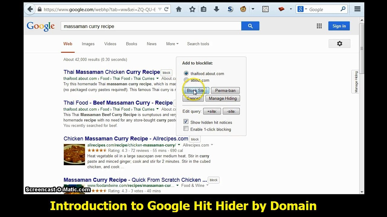 Google Hit Hider by Domain — Author's Site