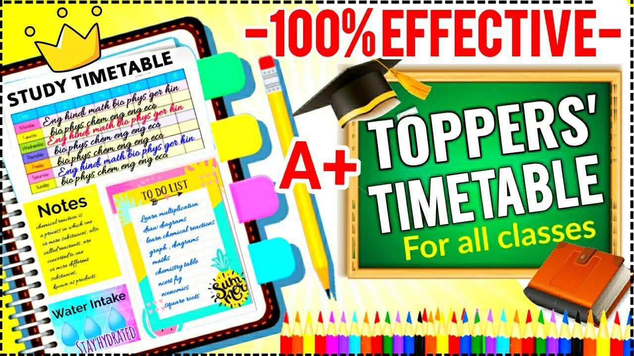 THE BEST PERFECT STUDY TIMETABLE FOR EVERY STUDENTS    Topper Student Timetable    3 Super tips✨