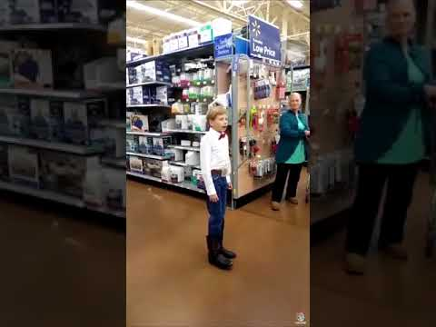 Little boy/kid yodelling in Walmart (yodeling kid) meme