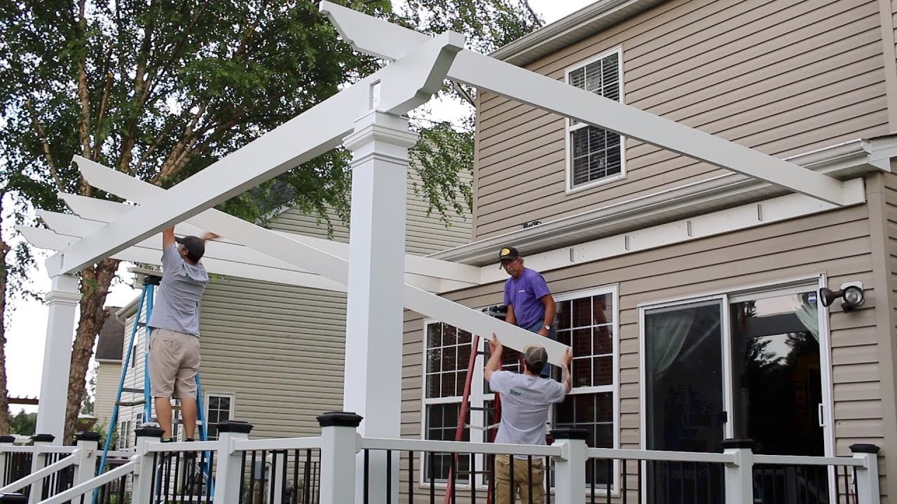 Installing An Attached Trex Pergola On A Deck - Installing An Attached Trex Pergola On A Deck