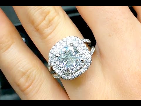 Superieur 3 Carat Cushion Cut Diamond Double Halo Engagement Ring