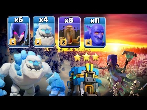 11 Bowler + 6 Witch + 4 Ice-Golem + 8 Earthquake Spell Smashing TH12 War 3 Star | Clash Of Clans