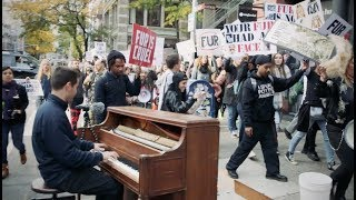 Street Piano with a Protest in NYC