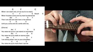 You Raise me Up Ukulele Tutorial Play along Sing Along