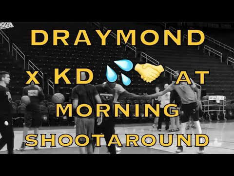 Draymond and KD (Kevin Durant) 💦 on same side of court then 🤝 at morning shootaround before Rockets