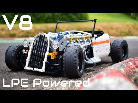 [MOC] Lego Technic Pneumatic V8 HOT ROD - 1/8th Scale - V8 LPE Powered \u0026 RC!