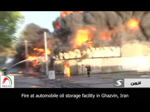 Fire at automobile oil storage facility in Ghazvin, Iran