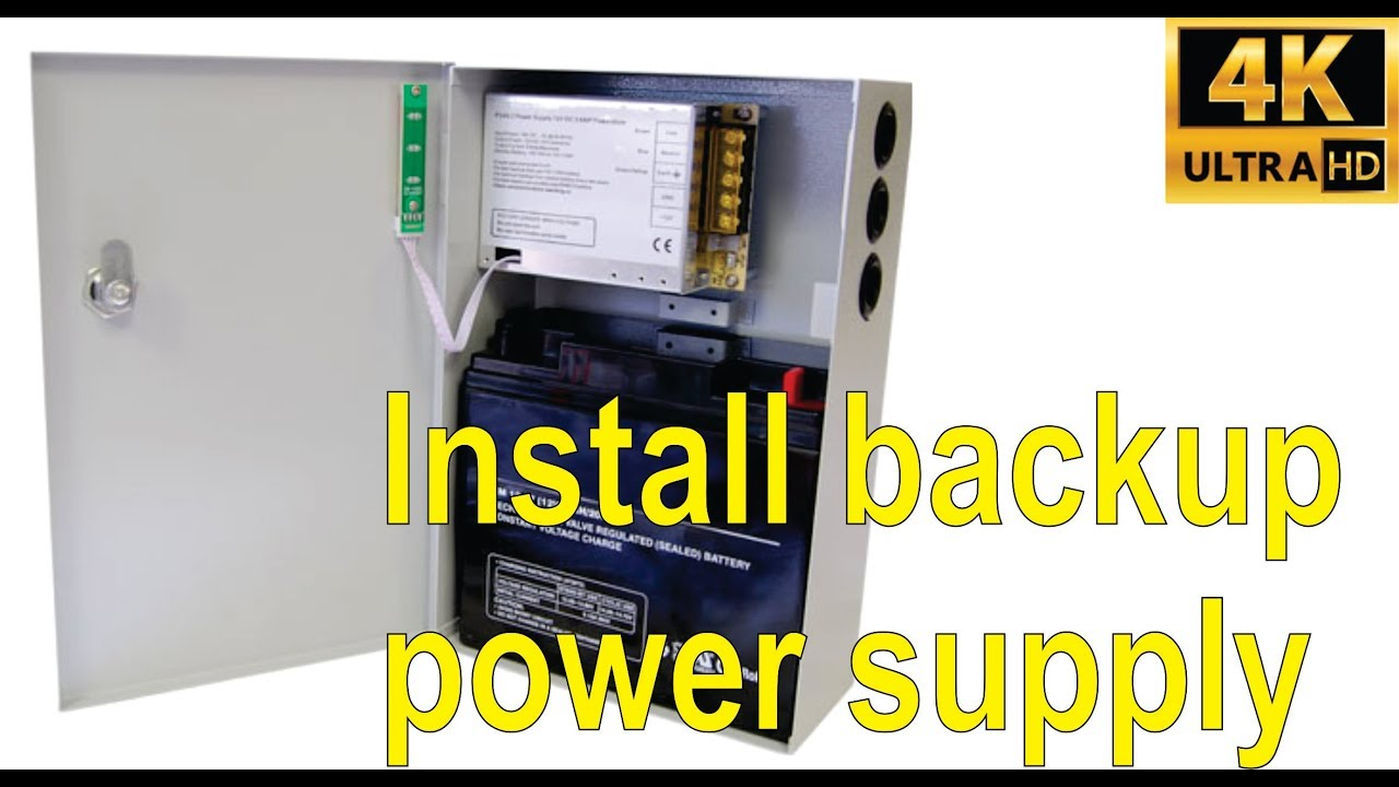 how to install a 12v backup power supply for alarm door closers etc