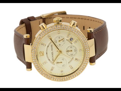 bba984dd4 MK2249 - Women's Chronograph Parker Chocolate Brown Leather Watch ...