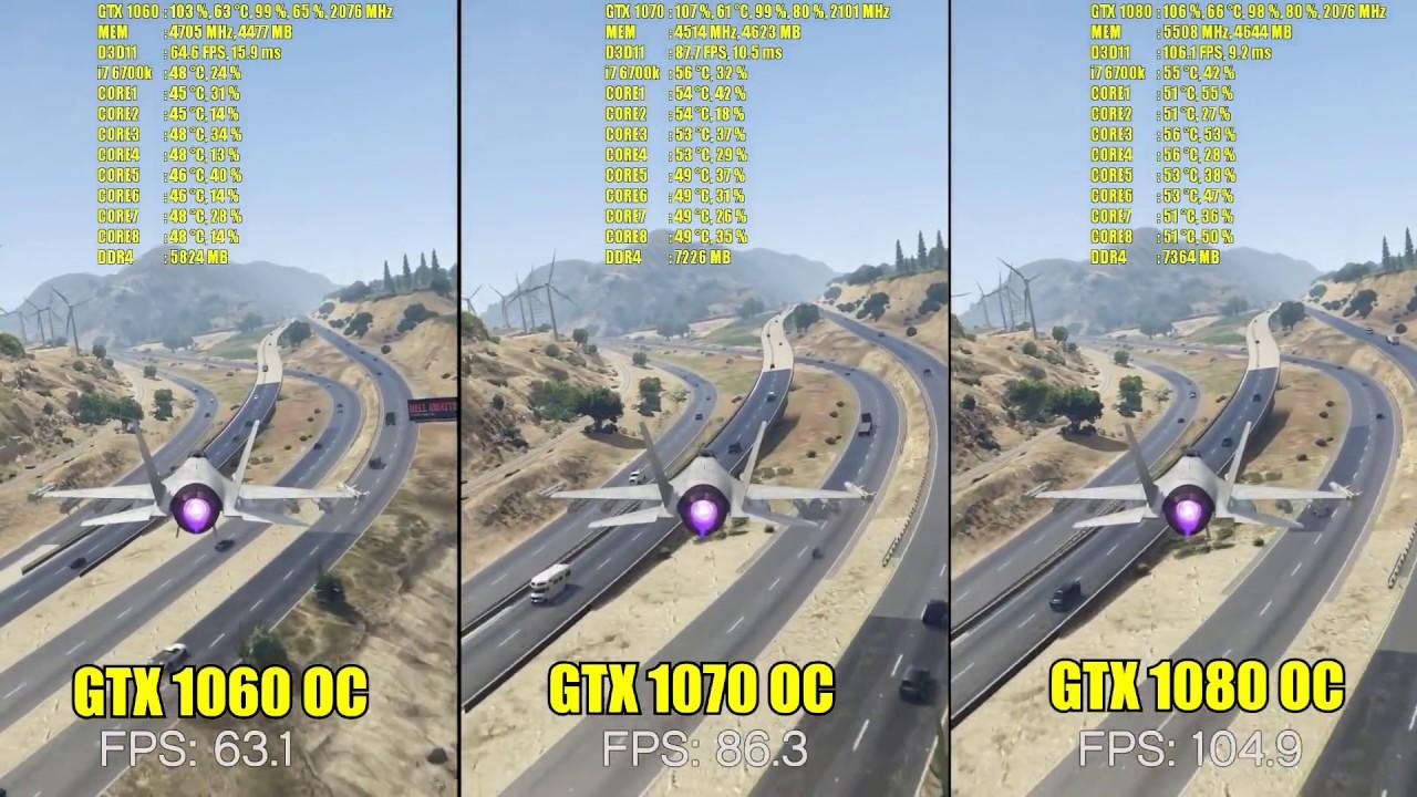 GTA V GTX 1060 OC - GTX 1070 OC - GTX 1080 OC | 1080p & 1440p | FRAME-RATE  TEST COMPARISON