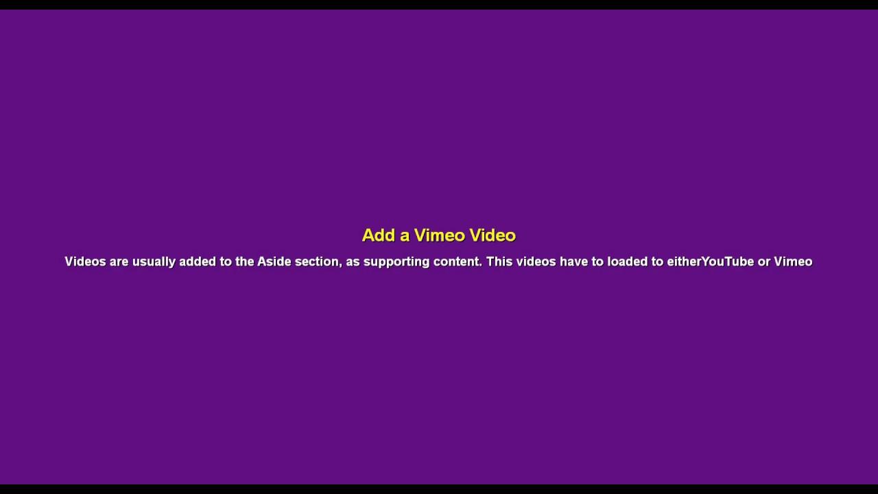 Adding a Vimeo Video