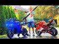 Сломался Байк Лев моет Мотоциклы для детей /  Funny biker repair motorcycle