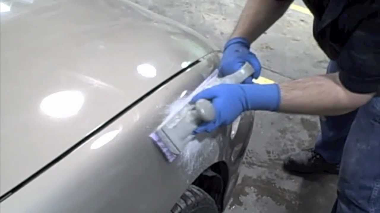 Diy how to fix dents in your car spread body filler and block sand youtube