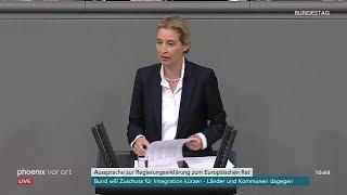 Bundestag: Alice Weidel zur Regierungserklärung zum Europäischen Rat am 21.03.19