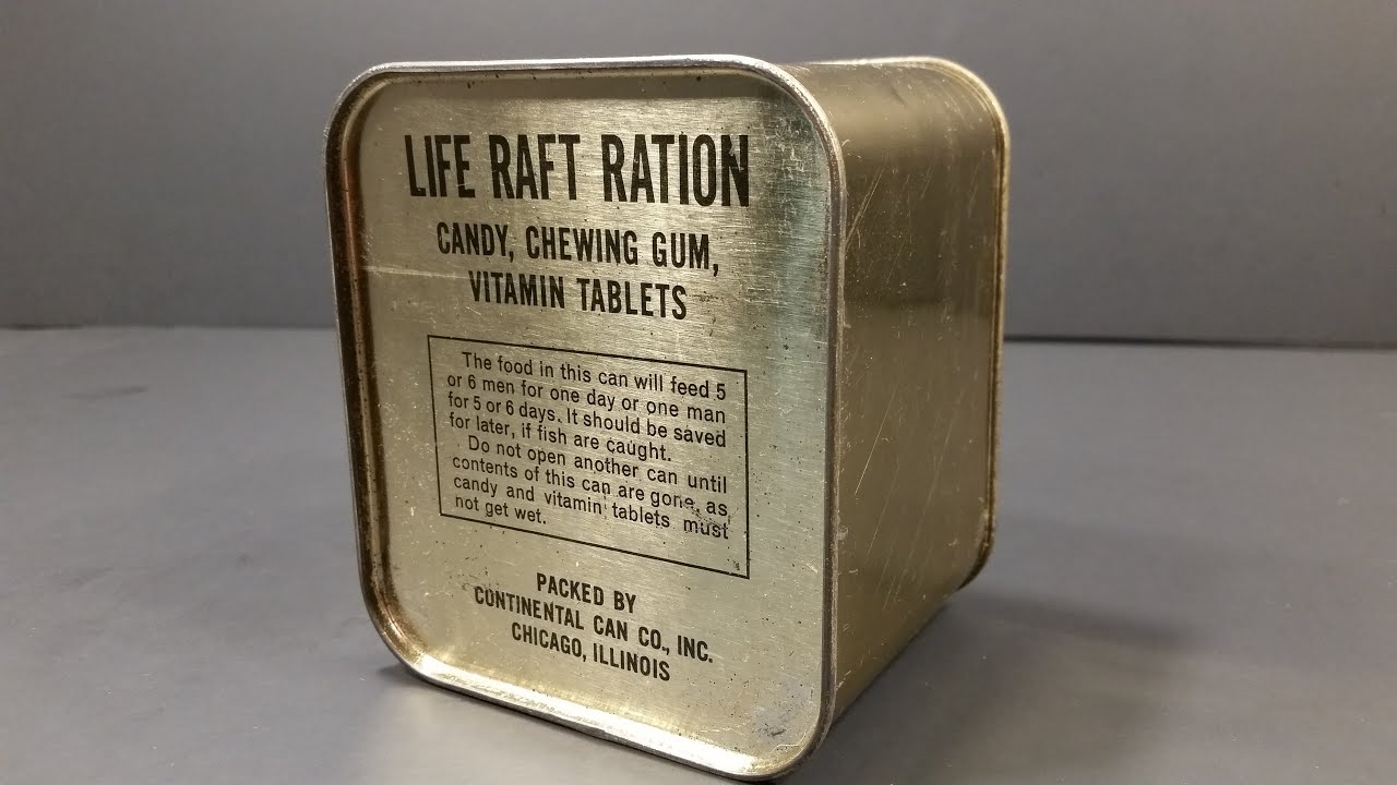 Download 1940-1945 AAF Life Raft Ration MRE US Military Food Review Army Air Force Charms Candy Americana