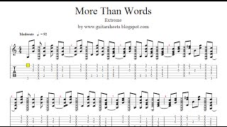 ♫ Extreme - More Than Words ♫ Easy Guitar Lesson ♫ !!! ORIGINAL NOTES & TABS !!!