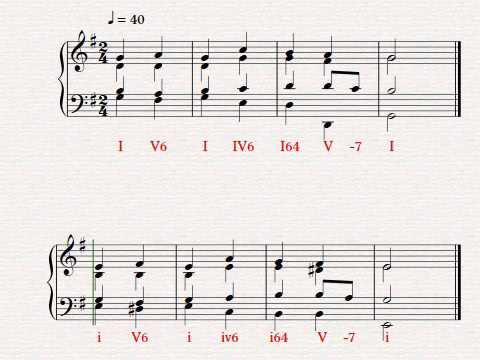 Keyboard Harmony Exercise I V6 I Iv6 I64 V V7 I G Major And E