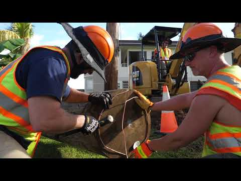 NYPA line crew replacing power poles in Guaynabo
