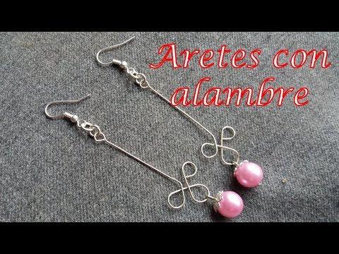 21b151efd802 Aretes con alambre y perlas - Bisutería Fina (Tutorial paso a paso ...