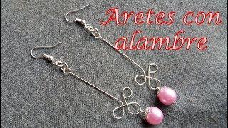 d2f14c72d2d1 Aretes con alambre y perlas - Bisutería Fina (Tutorial paso a paso)