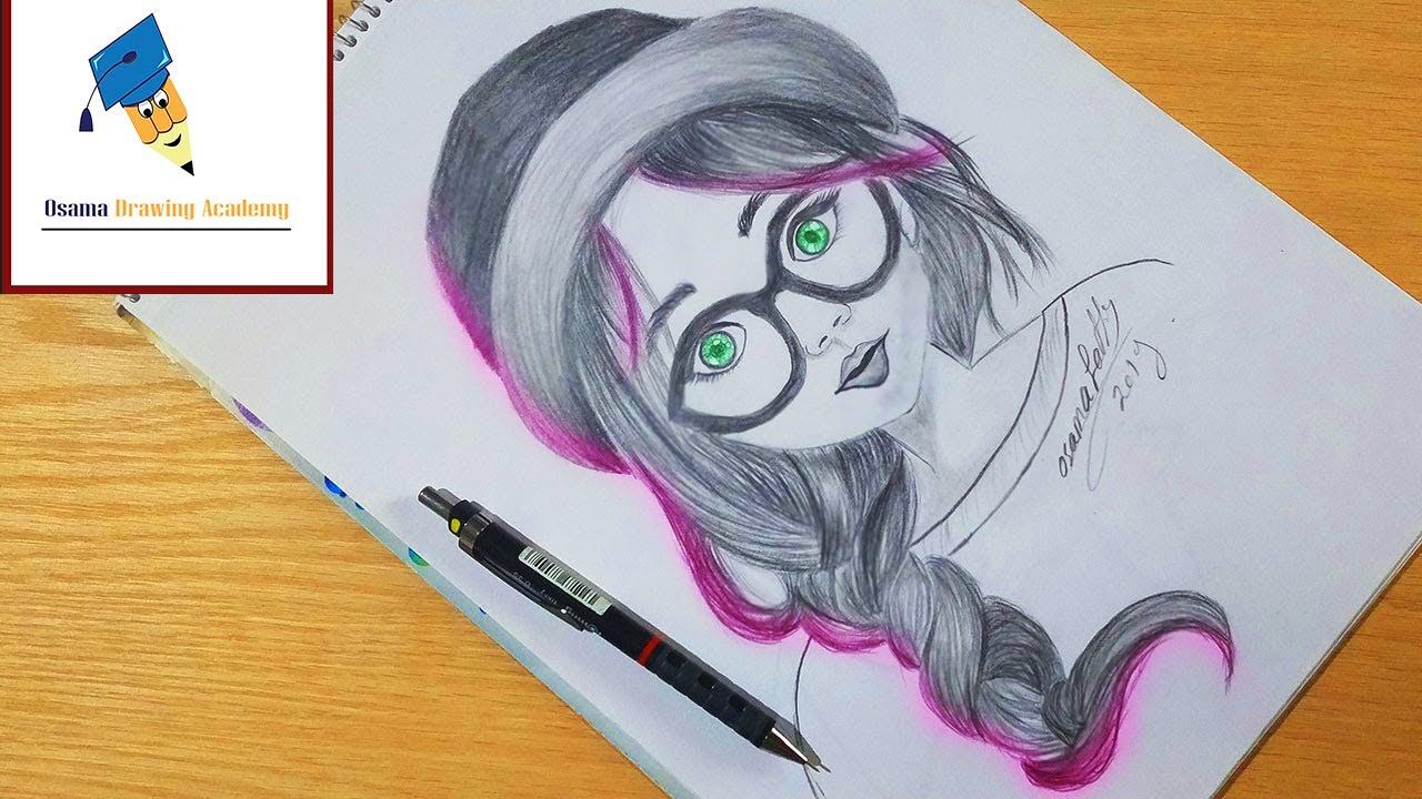 تعليم الرسم رسم سهل تعلم كيف ترسم بنت جميلة كيوت بالنظارة طريقة