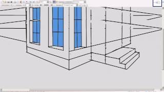 Рисуем домик, в перспективе с двумя точками схода