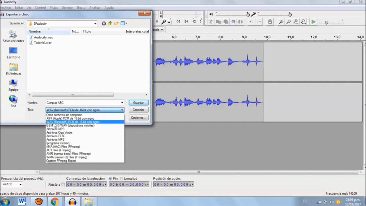 Guardar audio como wav