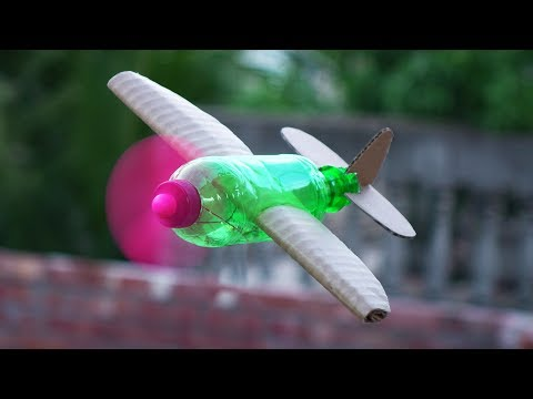 How To Make A Flying Airplane Using Plastic Bottle & Cardboard