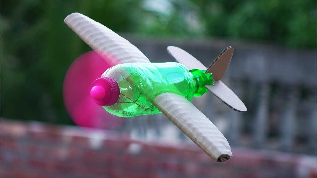 How To Make A Flying Airplane Using Plastic Bottle And