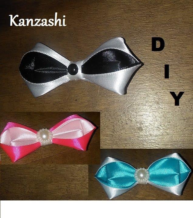 Diy mk tutorial noeud papillon bowtie kanzashi black and for Tutorial papillon