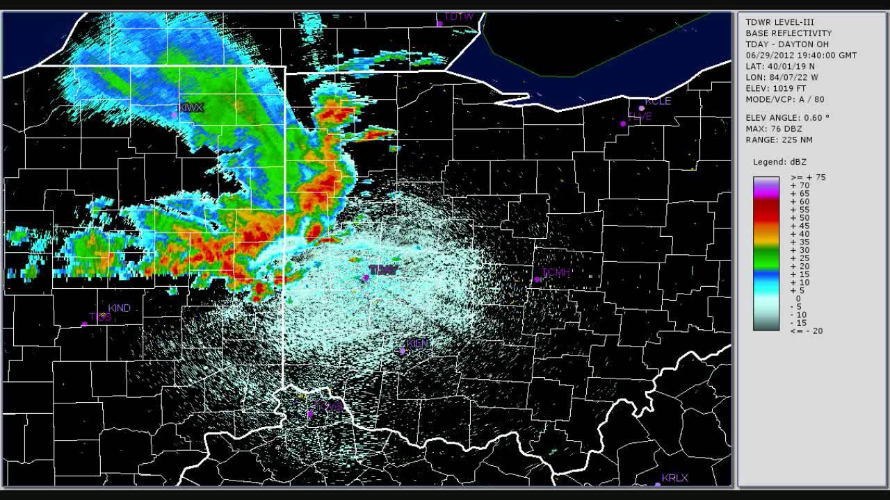 Terminal Doppler Weather Radar TDAY Dayton Ohio June 29 2012   YouTube