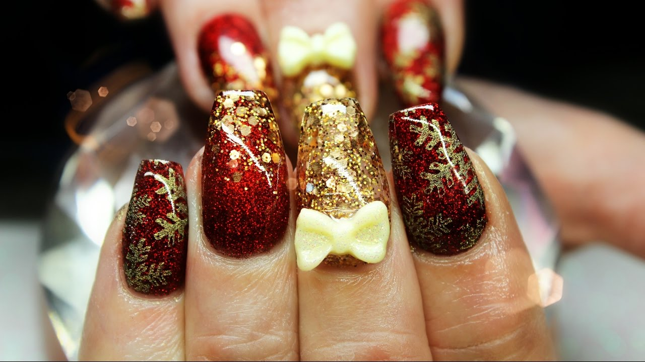 acrylic nails red and gold glitter | not polish ♡ - youtube