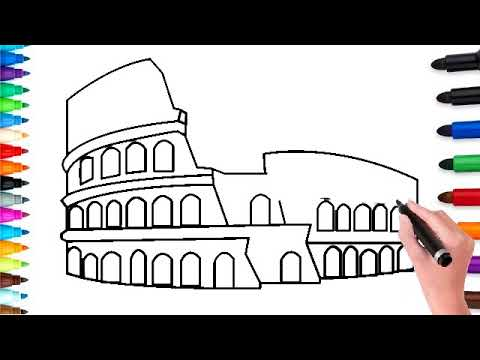 How To Draw The Colosseum Easy For Kids And Colore Youtube