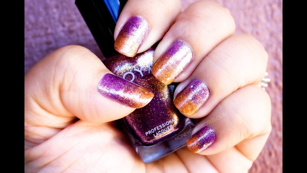 Easy Fall Gradient Nail Art - Glittery Ombre Nails, Purple ...