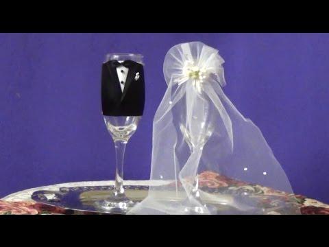 Copas para boda como decorarlas diy youtube - Como decorar copas para boda ...