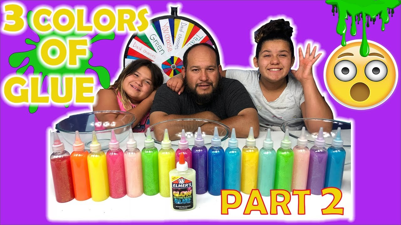 3 COLORS OF GLUE SLIME CHALLENGE CHALLENGE MYSTERY WHEEL