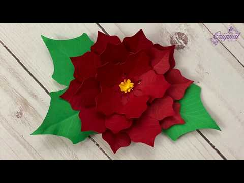 How To Make Mini Poinsettia Paper Flower || DIY Christmas Decor || Paper Poinsettia Christmas Flower