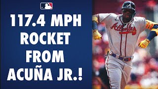 Ronald Acuña Jr. CRUSHES a 117.4 MPH HR for his 21st of the season!