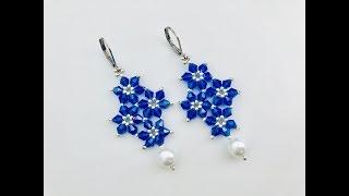 Quadruple Snowflake Earrings. DIY beaded earrings.How to make beaded earrings