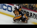 Crosby takes scary head first dive into boards