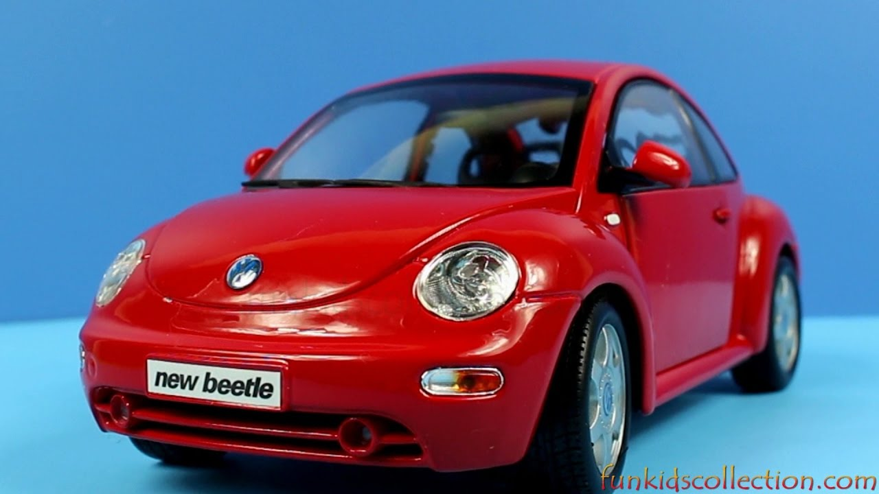 New Volkswagen Beetle >> Volkswagen New Beetle Red Die-Cast Model 1:18 Maisto - funkidscollection.com - YouTube