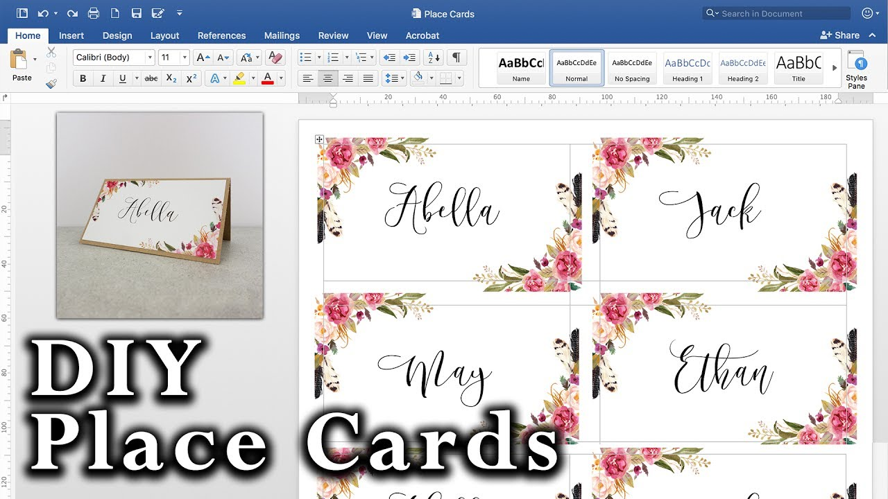 table placement cards template