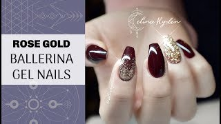 TUTORIAL | EASY RED AND ROSE GOLD GLITTER | BALLERINA/COFFIN GEL NAILS