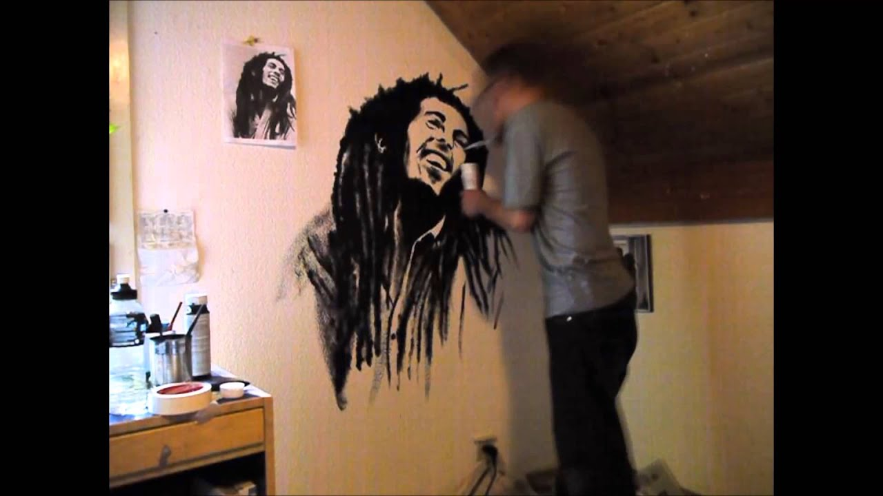 Bob marley wall painting youtube for Bob marley mural