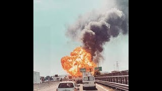 Bologna : Fireball erupts near airport after 'car transporter and fuel tanker collide' on motorway