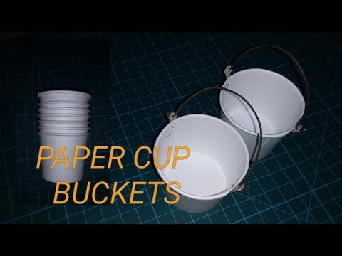 how to make a miniature bucket from paper cups/ very easu diy to make paper cup bucket.