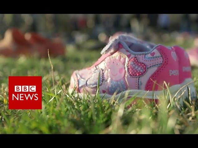 Shoes mark young US gun victims - BBC News #1