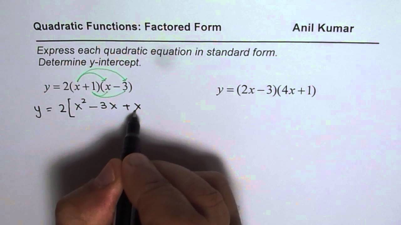 Write Quadratic Equation in Standard Form Find Y Intercept - YouTube